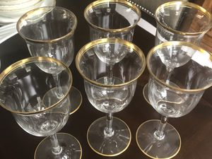 Beautiful vintage crystal wine glasses with 24 carat gold trim for Sale in Puyallup, WA