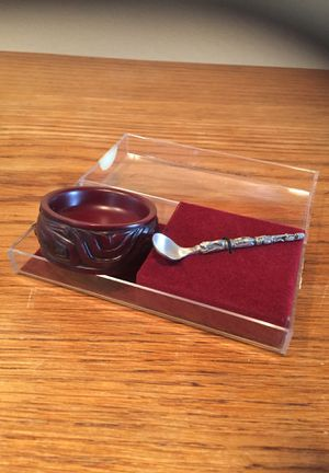 Boma carved Salt dish /Pewter spoon for Sale in Des Moines, WA