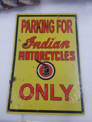 Indian motorcycle bike parking only aluminum metal sign for Sale in Vancouver, WA