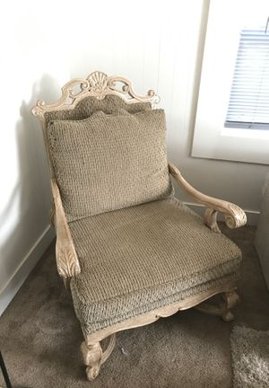 Large Wood Carved sofa chair for Sale in Bend, OR