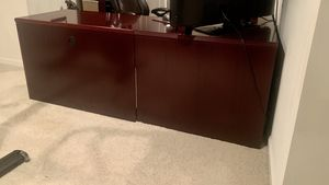 L Shaped Cherry Wood Desk w/ File Cabinet & Desk Chair for Sale in Frederick, MD