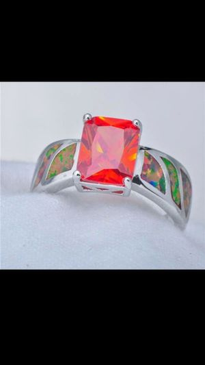 SOLID 925 ReaL Red ZiRcoN FiRe OpaL RiNg for Sale in Bountiful, UT