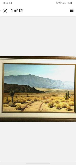 Original Vintage Landscape Oil On Canvas Desert/mountain By ED.H.Hammerberg #662 for Sale in Costa Mesa, CA
