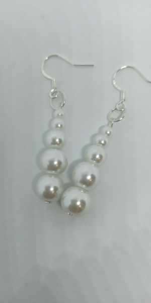 Sterling silver stamped pearl earrings for Sale in New Britain, CT
