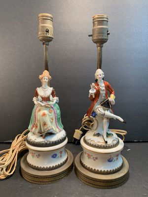 "Antique Victorian Handpainted Porcelain/Metal Table Lamps (Height: 13-1/2"") for Sale in Dade City, FL"