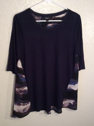 Like New Black Women's Simply Vera Vera Wang 3/4 Sleeve Top Tunic in package - size M for Sale in Austin, TX