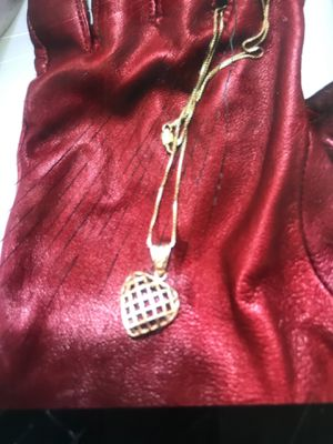 Russian Gold Basket weave heart with 14k chain for Sale in Reynoldsburg, OH
