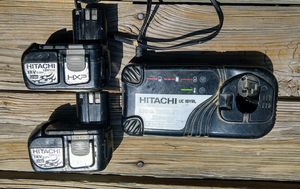 Hitachi uc 18yrl charger with cooling system. 2 hitachi 18 v li-on ebm1830 batteries for Sale in Raleigh, NC