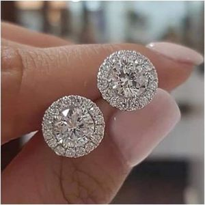 NEW 1.25ct Round Moissanite White Diamond Halo Brilliant Cut Stud Earrings 18K White Gold for Sale in Oak Creek, WI