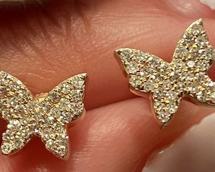 14k Real Diamonds Butterfly Earrings for Sale in Boston,  MA