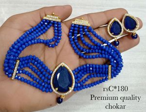 Blue beads choker necklace set for Sale in Dublin, CA