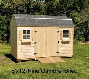 New 8' x 12' Pine Gambrel Shed for Sale in Rehoboth, MA