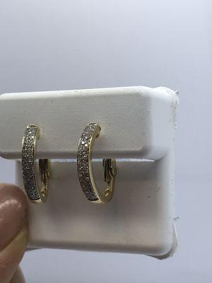 10k Gold Diamond Hoop Earrings New for Sale in Renton, WA