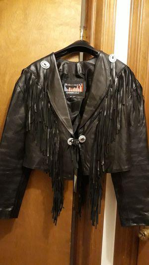 Black Genuine Leather Fringe Jacket Sz Lg for Sale in Aurora, IL