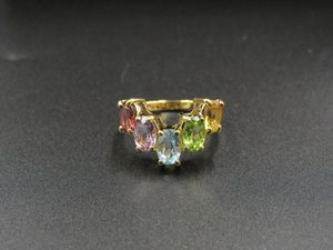 Size 6.75 Sterling Silver Citrine Peridot Topaz Amethyst Garnet Band Ring Vintage Statement Engagement Wedding Promise Anniversary Bridal for Sale in Lynnwood, WA