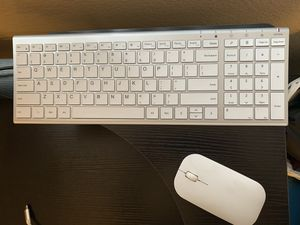 Rechargeable Wireless Keyboard Mouse, Seenda Small Compact Low Profile Aluminum Keyboard and Mouse Combo with Number Pad for Windows, Silver and White for Sale in San Diego, CA