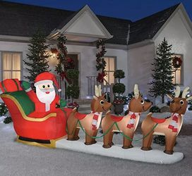 12 ft Pre-Lit LED Giant-Sized Inflatable Santa and Sleigh Scene - New, Open Box for Sale in Cave Creek,  AZ