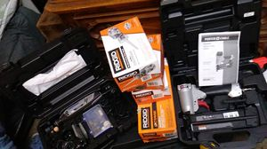 Everything nail gun , ridgid job max combo interchamgble 4 peice combo , dremel and accessories and tool box for Sale in Portland, OR