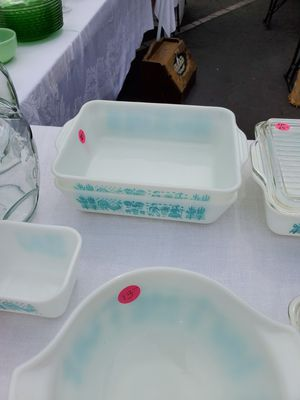 Pyrex turquoise butterprint refrigerator dishes for Sale in Anaheim, CA