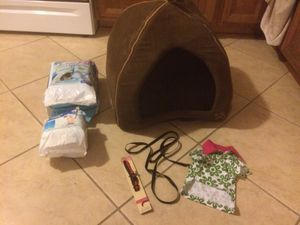 Dog house puppy pads two packages a new leash and a new collar, nail trimmer $40.00 all for Sale in North Highlands, CA