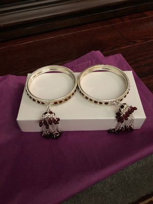 Red stone and silver bangle for Sale in Kensington, MD