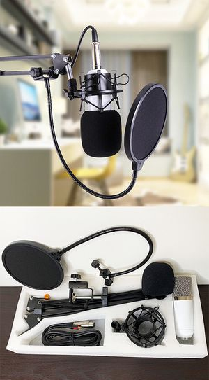 Brand New $30 Condenser Microphone Kit Studio Recording w/ Pro Filter Boom Arm Stand Shock Mount for Sale in Downey, CA