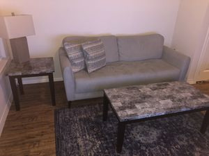 Living room set: couch, lounge chair, coffee table, 2 end tables and 2 lamps for Sale in Farmers Branch, TX