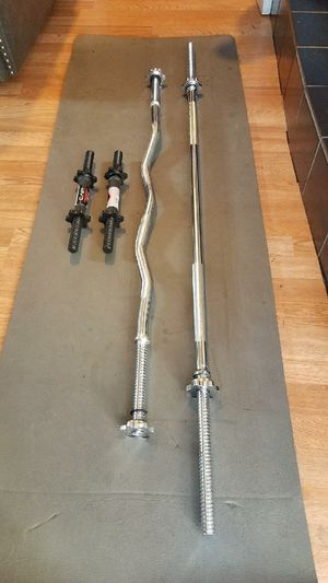 1x 5 foot straight barbell 1x 4 foot curl barbell 2x dumbbell handles for Sale in Montebello, CA