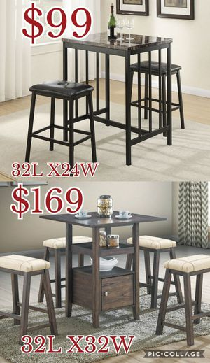 3pcs counter Height dining table set // 5pcs Counter Height dining table set, table set, chairs for Sale in Los Angeles, CA