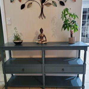 Retro Console Table with 3-Tier Open Storage Shelf and Two Drawers for Sale in Anaheim, CA