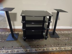 Black/Silver Glass Component Rack with Two Metal Speaker Stands for Sale in Citrus Heights, CA