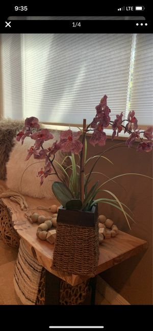 """Purple orchid in wood & rattan basket, approx 21"""" tall for Sale in New Port Richey, FL"""