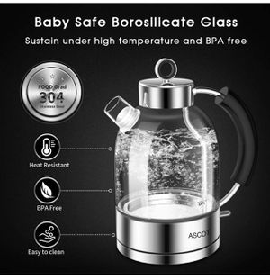 lectric Kettle, Glass Electric Tea Kettle 1.6L, 1500W, Stainless Steel Tea Heater & Hot Water Boiler, Borosilicate Glass, BPA-Free, Cordless, with Au for Sale in Ontario, CA
