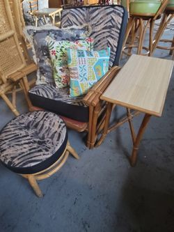 Vintage 1940's Rattan Chair And Ottoman for Sale in Fort Lauderdale,  FL