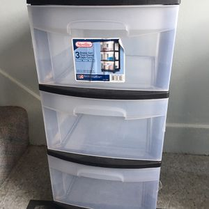 Sterilite 3-Drawer Cart Black frame with Clear plastic Drawers. for Sale in Arlington, VA