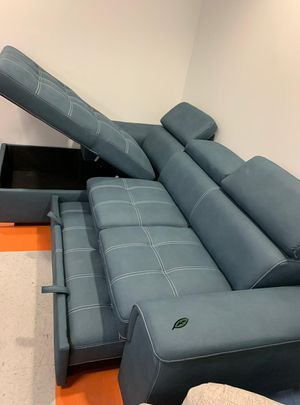 Free Delivery 🐋  BEST Deal 🐋 Ferriday Blue Storage Sleeper Sectional 166 for Sale in Houston, TX