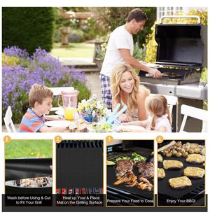 BBQ Grill Mat 5 PCS 100% Nonstick Reusable BBQ Mat with 2 Silicone BBQ Brushes for Gas,Charcoal, Electric Grill,15.75 x 13 Inches,Black for Sale in Fremont, CA