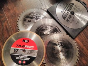 Saw blades ~ Two 40 tooth, Two 200 tooth and a Diamond Blade for Sale in Portland, OR