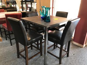 Elegant grey finish counter height 5 piece dining table set for Sale in Irving, TX