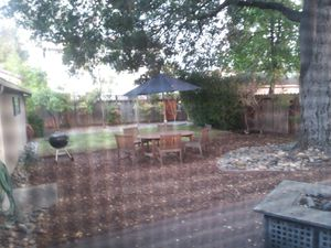 Heavy duty wood tablw and chairs and umbrumbre lla for Sale in Redwood City, CA