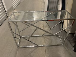 Chrome Finish/Glass Top Console Sofa Table with Abstract Designs for Sale in Orlando, FL