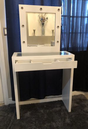 Glass top vanity with mirror for Sale in Phoenix, AZ