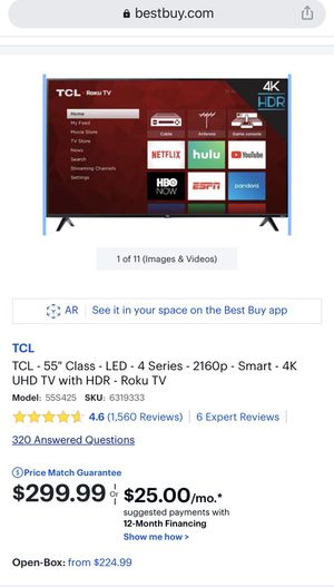 TCL 55 inch 4K with Roku TV for Sale in Chicago, IL