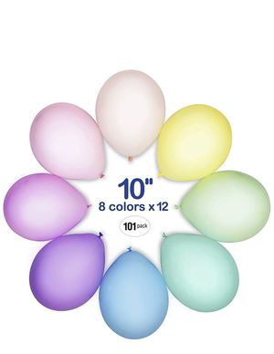 Pastel Balloons - Assorted Macaron Color Balloons 10 Inch 101 Pack - Unicorn Balloons Birthday Party Supplies - Baby Shower and Wedding Decoration for Sale in Brooklyn, NY