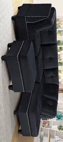 Sienna black velvet sectional sofa with ottoman for Sale in Houston, TX