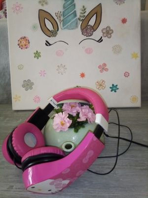 Little girls hello Kitty headphones canvas with unicorn and teakettle Deco , all for $5 for Sale in Surprise, AZ