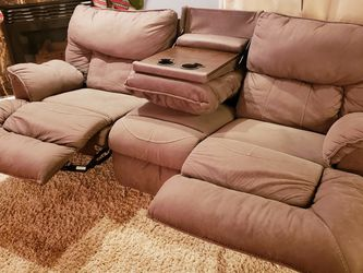 Reclining Couch/Sofa with Pull-Down Table, Microfiber, Brown, for Sale in New Baltimore,  MI