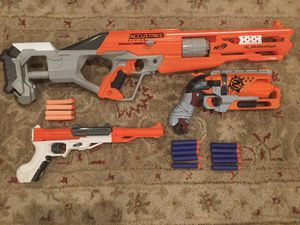 Nerf gun lot with Alphahawk, Hammershot, Sharpfire, and more for Sale in Los Angeles, CA