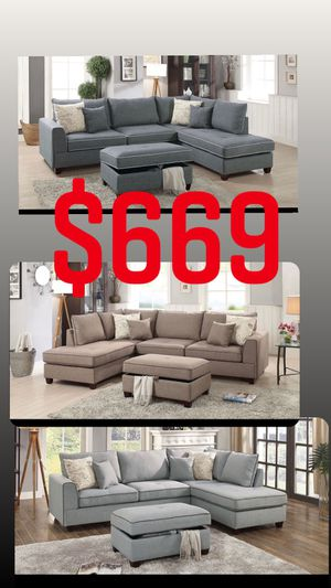 SECTIONAL SOFA SET WITH STORAGE OTTOMAN for Sale in Yucaipa, CA