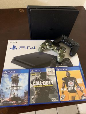 PS4 slim 1tbt 2 controllers +games +headset+box for Sale in Clovis, CA